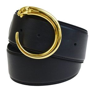 CARTIER Logos Panther Buckle Belt Leather Black Go